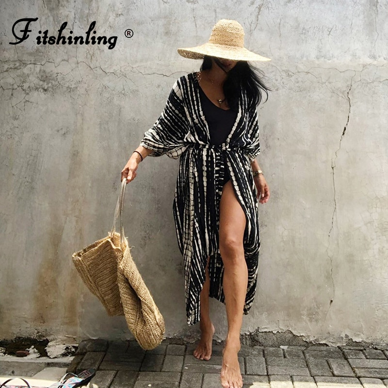 Fitshinling الصيف كيمونو ملابس السباحة هالو الصباغة الشاطئ التستر مع وشاحات المتضخم سترة طويلة عطلة مثير يغطي