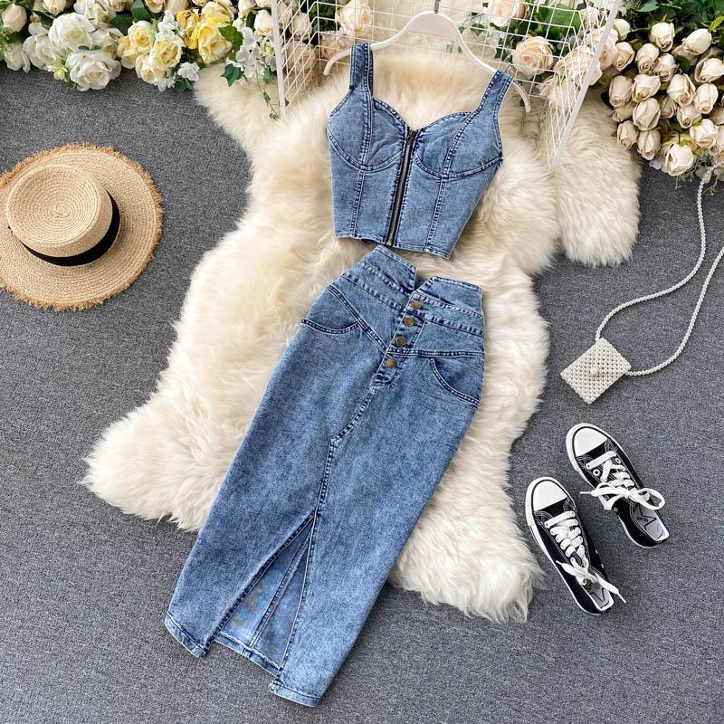 BJYL Frauen Jeans Weste + Röcke Sets Straps Tops Tasten Denim Rock Anzüge für Frau