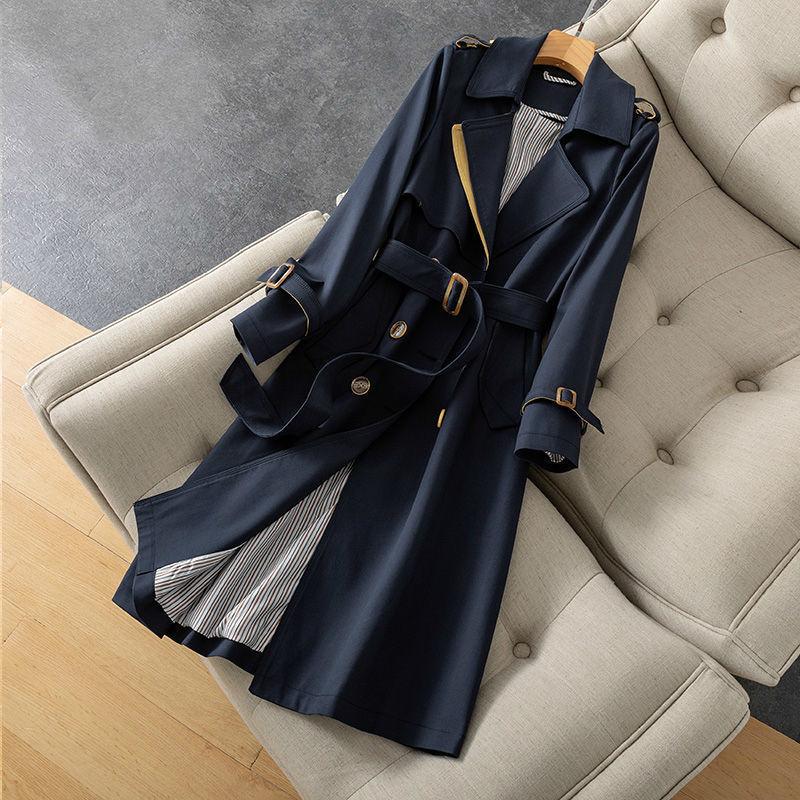 المرأة الكلاسيكية مزدوجة الصدر خندق معطف 2021 الخريف جديد الكورية حزام سترة واقية الإناث موضة أنيقة معطف طويل 4XL Y577