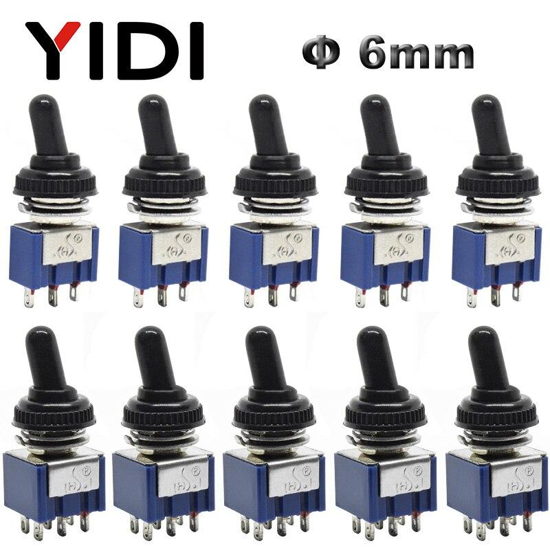 5 uds 10 Uds MTS-102 103 MTS-202 203 interruptor de palanca 6A 125VAC on SPDT 6mm Mini interruptor DPDT on off on tapa impermeable