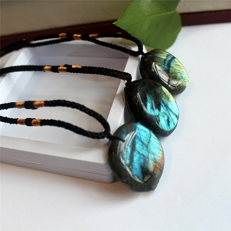 PINKSEE винтажная Подвеска из натурального Лабрадорита в форме лунного камня, ожерелье из плетеной веревки, ожерелье, ювелирное изделие, подар...