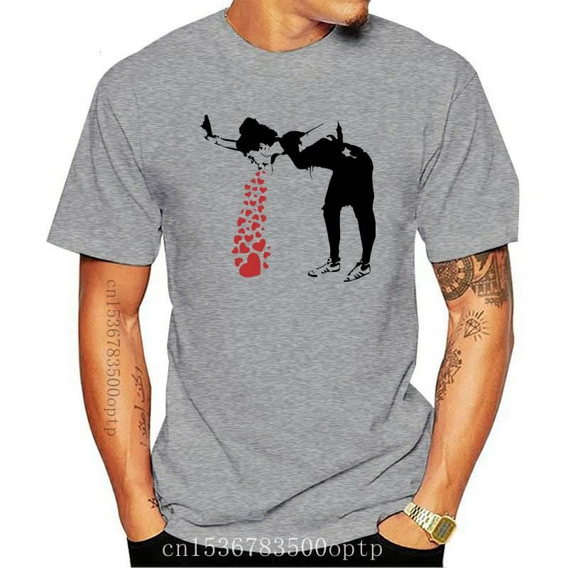 Camiseta de arte de pared Lovesick Banksy para hombre, ropa Punk informal, de algodón puro, a la moda, nueva