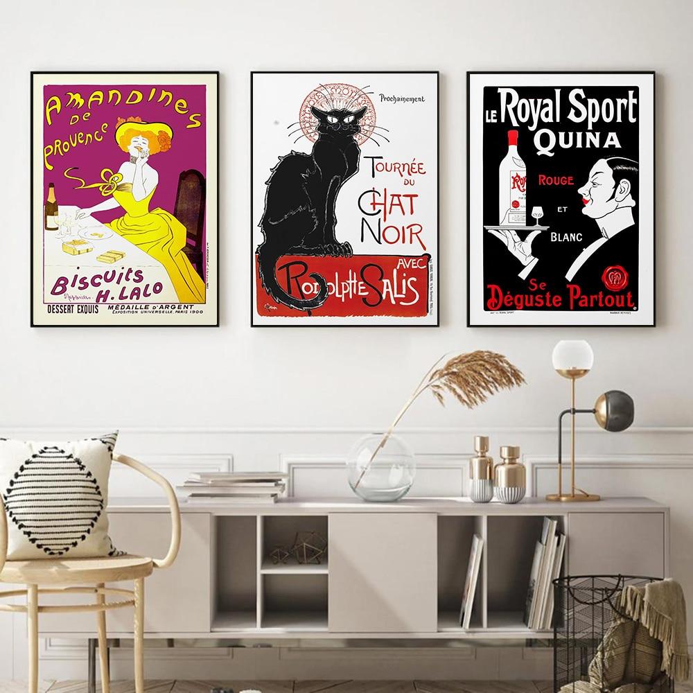 Arte de pared Vintage para publicidad, cartel de gato negro, Chat francés,...