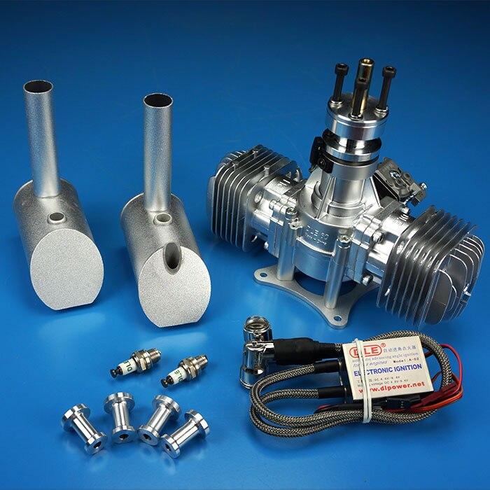 Motor de gasolina de avión modelo DLE60, doble cilindro de dos tiempos, Escape lateral, modelo de motor Natural refrigerado por aire de 60CC