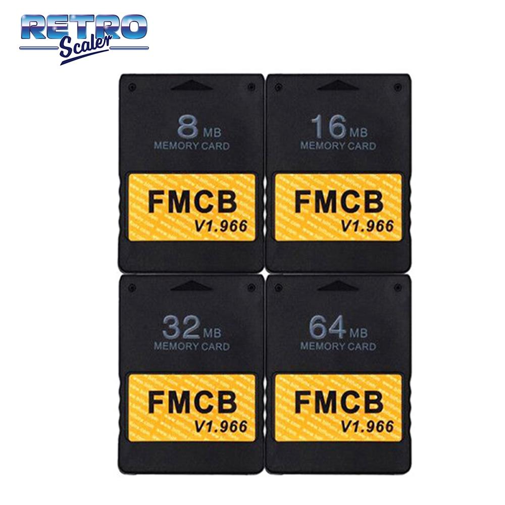 RetroScaler Classic-tarjeta de memoria para consola PS2, negra, libre, McBoot v1.966, 8MB/16MB/32MB/64MB