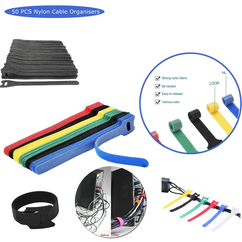 50 pieces of reusable nylon cable tie hook and loop organizing tool 6 color cable winder