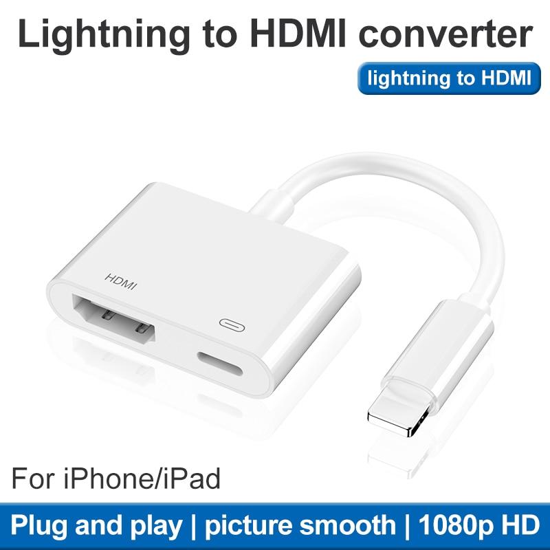 Nuevo convertidor de 8 pines a HDMI 3 en 1 para Iphone a HDMI AV Adaptador convertidor para IPhone XR 11 para IPad adaptador de Audio y Video