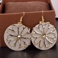 women jewelry flower earrings popular design vintage temperament hot selling metal drop earrings for girl fine accessories