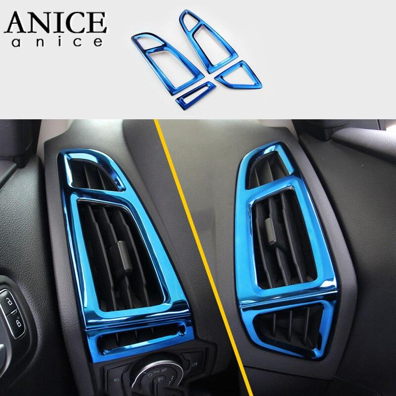Für Ford Focus MK3 2015-2018 edelstahl Innen dashboard air conditioner vent Trim 4PCS LHD LINKS HAND SEITE