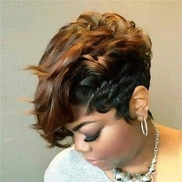 whimsical w women pixie cuts synthetic hair short brown wine natural wigs heat resistant wig for black women