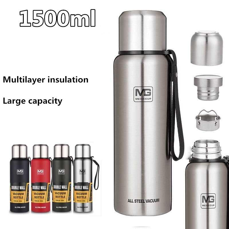 Frascos de vacío de 1500ml con aislamiento ecológico, taza térmica de gran capacidad, botella de agua termo de cuerda portátil con Infusor de té