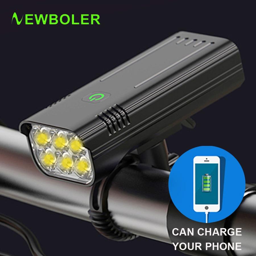 NEWBOLER 3600 التجويف LED إضاءة دراجة هوائية 5200mAh كما قوة البنك اكسسوارات الدراجة USB مقاوم للماء الدراجة الجبلية الطريق الجبهة ضوء مصباح يدوي