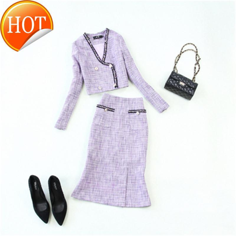 Inverno/primavera moda feminina xadrez novo terno de alta qualidade rendas lã tweed topo jaqueta saco hip fishtail saia luz roxo conjunto