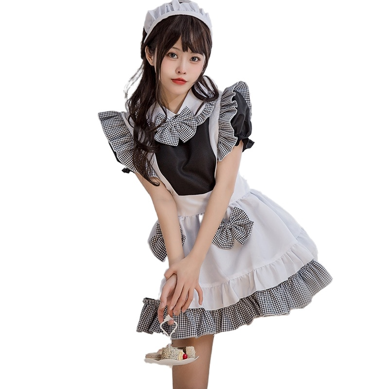 China Embroidery #15 Maid Outfit Cosplay Sexy Lolita Anime Cute Soft Girl Maid Uniform Appealing Set Stage Waiter Costumes freee shipping cos anime ears cats hairpins diffuse maid catwoman lolita soft cute sister card