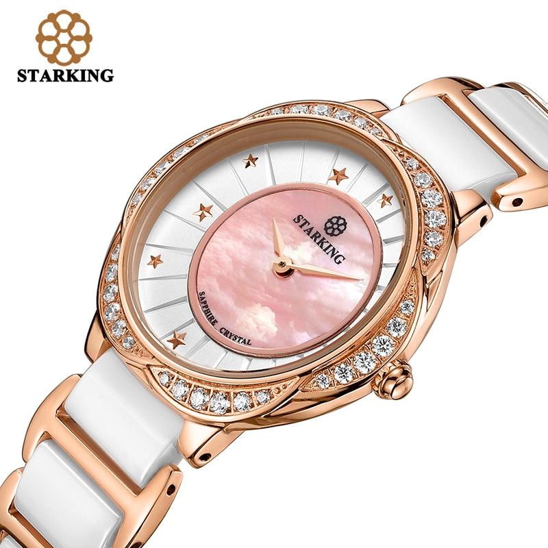 STARKING Women Dress Wristwatch Ceramic Watch Band Import Quartz Movement Luxury Pink Blue Ladies Wristwatches Relogio Feminino enlarge