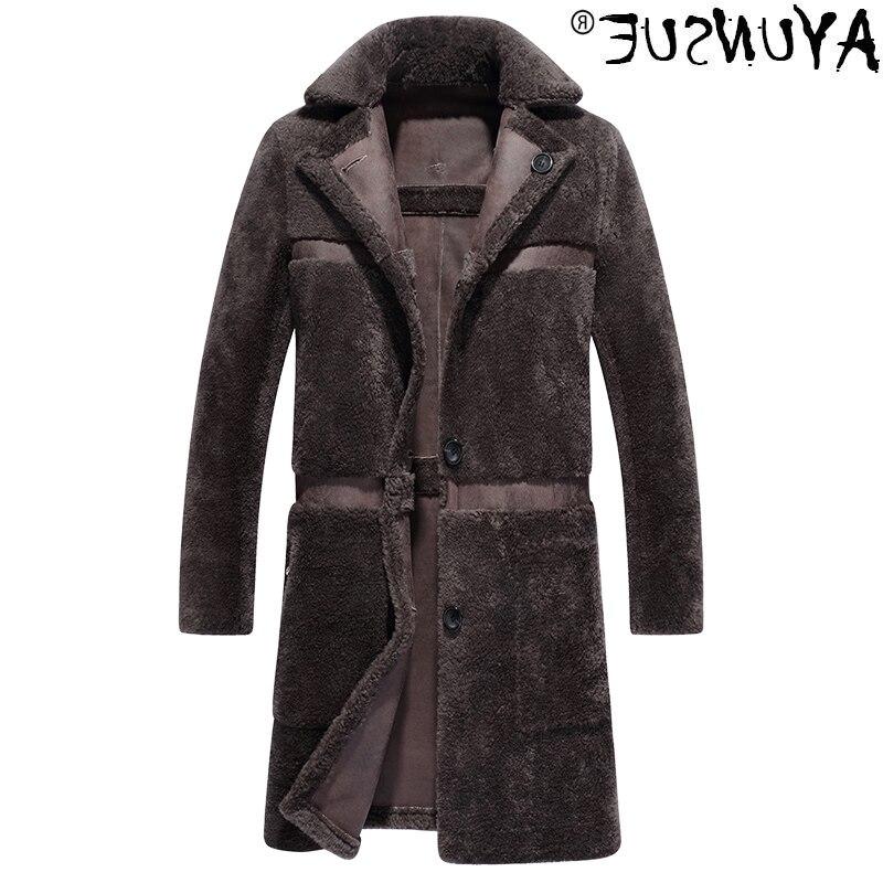 الرجال أصيلة على البخار معطف جلد الغنم ، سترة الشتاء ، معطف الصوف الطويل ، ملابس كبيرة