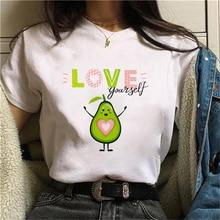 Avocado women summer fashion t-shirt  Funny Printed short sleeve t-shirt Kawaii Cartoon Graphic Tshi