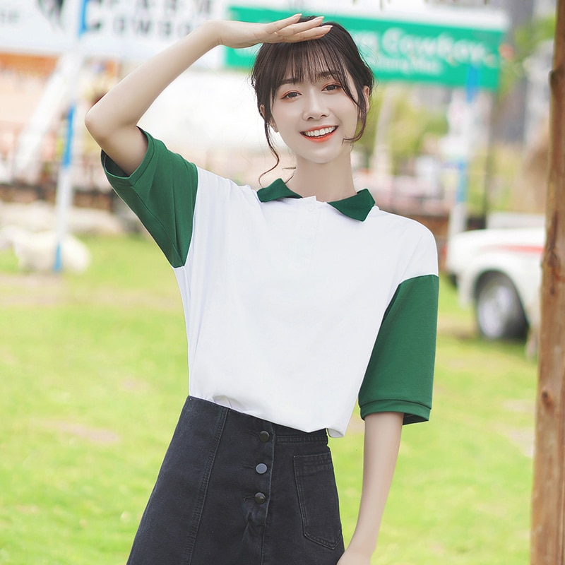 Polo Khaki Summer 2020 New Pure Cotton Women's T-shirt Short Sleeve Loose and Simple Contrast Color