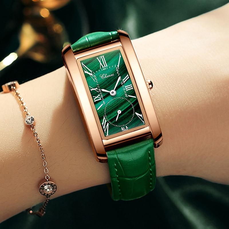 CHENXI Top Brand Luxury Women Elegant Quartz Watch Malachite Green Casual Waterproof Leather Ladies Wristwatch Relogio Feminino