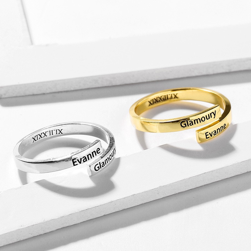 Customized Couple Name Ring Personalized English Letter Silver Rings Hip Hop Custom Name Without Closing Ring Gifts for Women freeshipping personalized carrie style two finger silver name rings couples name ring custom name jewelry