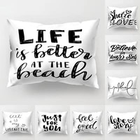 black letters number printing pillow case cushion cover marble texture throw 3050cm pillowslip sofa car pillows