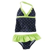 kids two pieces swimsuit 2 8 y baby swimwear dark blue with dots print children swim pool suit water sport