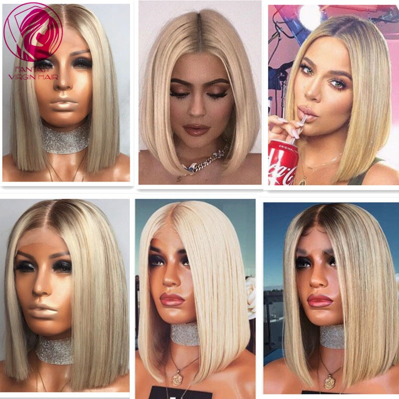 Ombre Platinum Blonde Ash Highlights 613 Grey Colored Laced Front Wig Straight Virgin Hair Human Hair Wigs 13x1 Lace Part 150%
