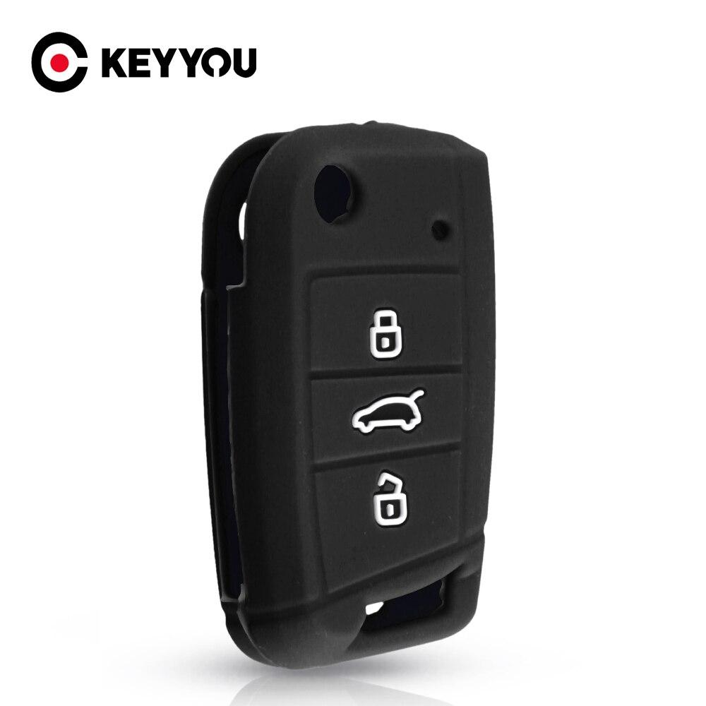 KEYYOU-funda de silicona para llave, para Volkswagen VW Golf MK7 Tiguan Skoda...
