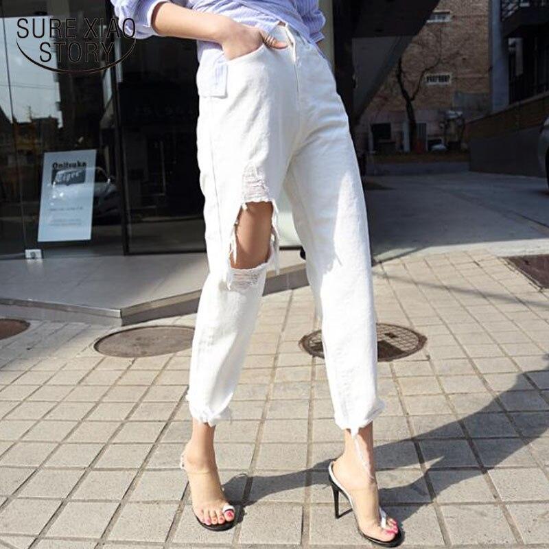 Otoño 2020, ropa de calle, pantalones de mezclilla para mujer, Vaqueros blancos para mujer, cintura alta, rasgados, dobladillo con flecos, pantalones vaqueros harén para mujer 10636