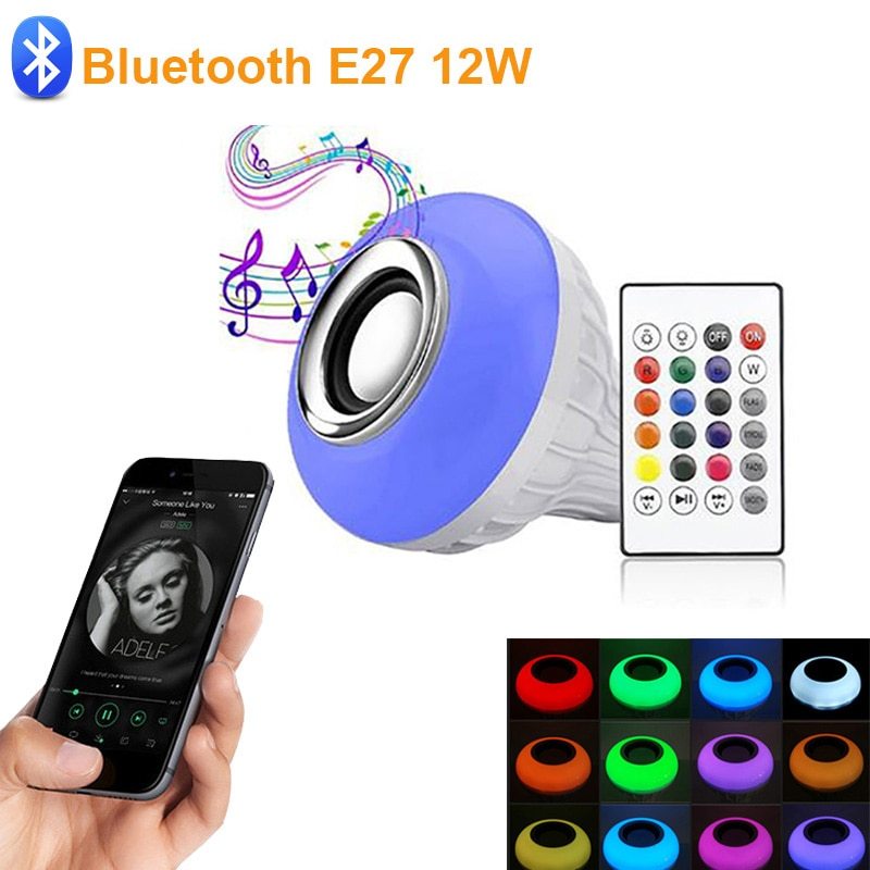 Smart E27 RGB Bluetooth Speaker LED Bulb Light 12W Music Playing Dimmable Wireless Led Lamp with 24