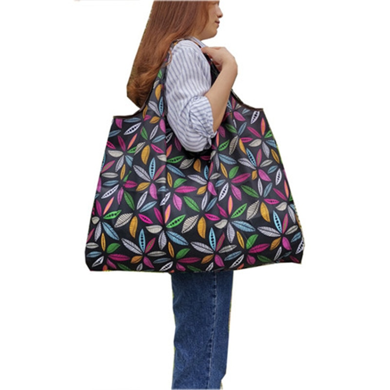 Bolsa de compras reciclable plegable de nailon, bolsa de compras ecológica reutilizable para mujeres, bolsa de compras Floral para frutas y verduras, bolsa de supermercado Casual
