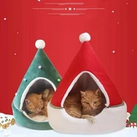 autumn and winter new christmas pet bed cute christmas tree shape cat tent winter warm soft cat dog house