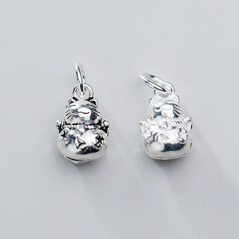 925 Plata de Ley Ringring Fortune Kitty encanto campanas mujer adorno artesanal colgante de plata colgantes DIY joyería fina