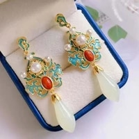 magnolia ancient style s925 sterling silver earrings chinese style ancient costume earrings burnt blue ethnic style natural
