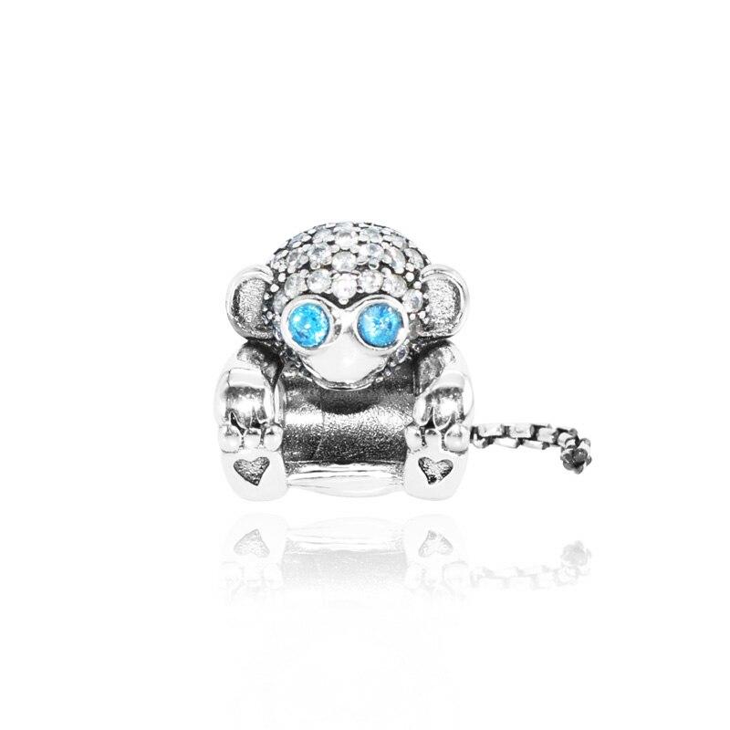 New Arrival 100% 925 Sterling Silver Beads,Sparkling Monkey Charms fit Original Pandora Bracelets Women DIY Jewelry
