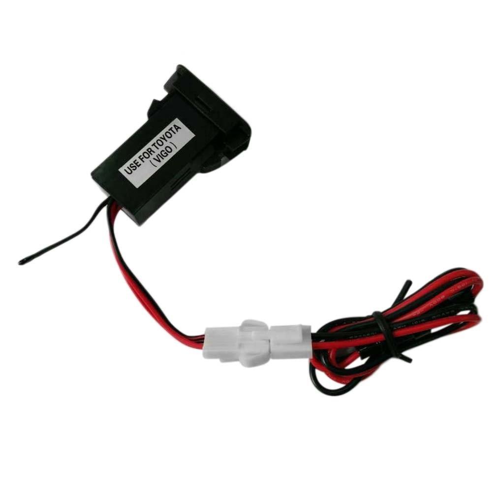 Adaptador de cargador de enchufe de mechero de coche doble puerto USB de 12 V-24 V para Toyota VIGO Material duradero fácil de instalar y usar