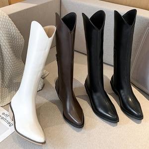 INS Women Knee High Boots Female Leather Fetish Winter Warm Knight Boots Platform Plus Size Booties Lady Low 6cm High Heels Shoe