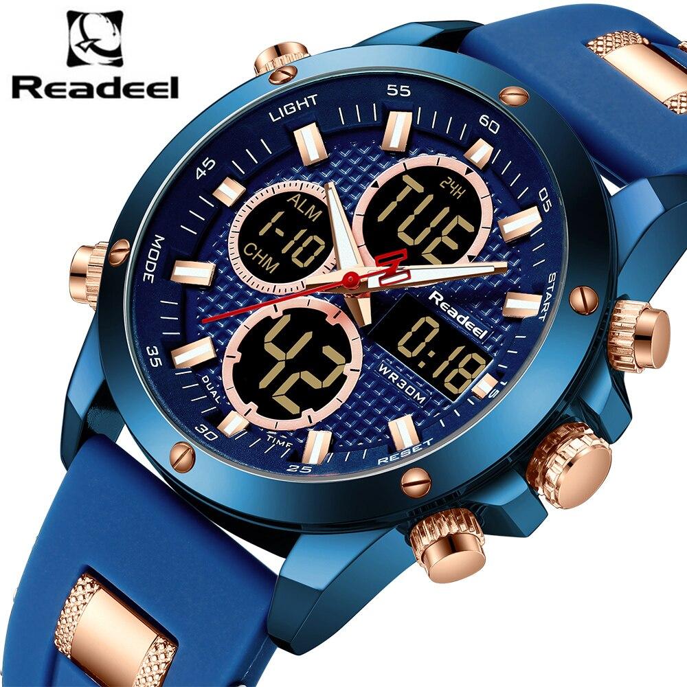 Relojes de marca de lujo relojes deportivos Led digitales de cuarzo para hombre reloj militar de doble pantalla para hombre reloj Masculino