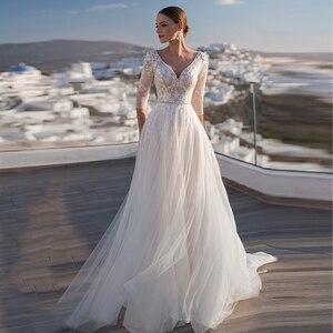 V-Neck Wedding Dress 3/4 Sleeve A-Line Lace Appliques Backless Tulle Bride Gown Floor Length Sweep Train Vestidos De Noiva  2021