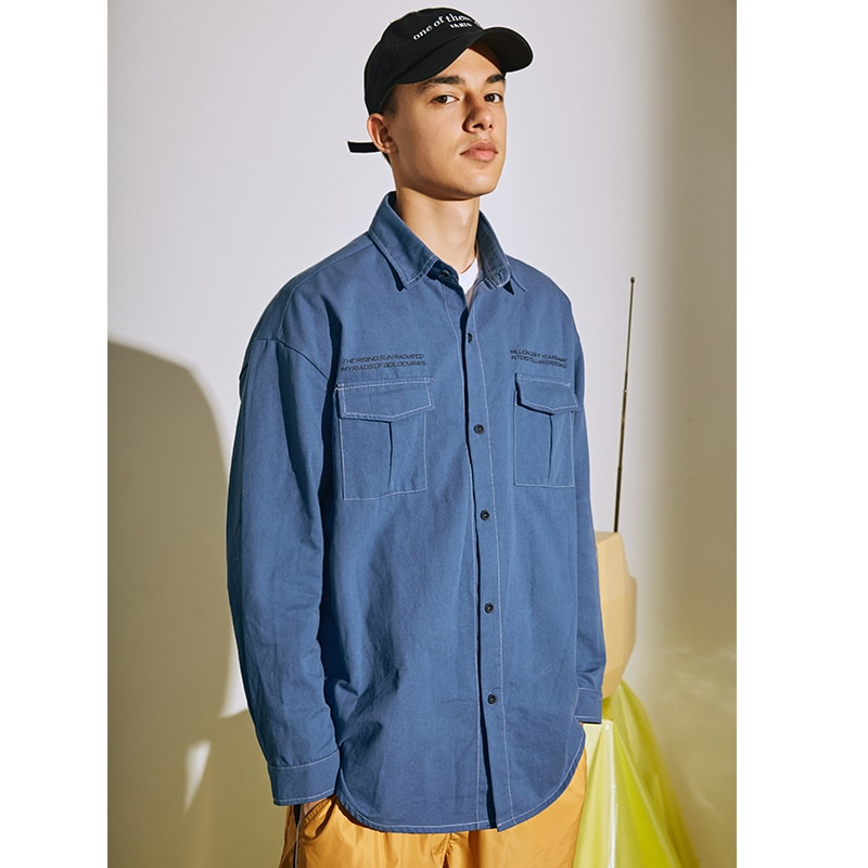 2019 Autumn Men's Fashion Trend Tide Cowboy Clothes Shirt Loose High-quality Coats Shirt Hip-hop Style Loose Denim Shirt M-2XL