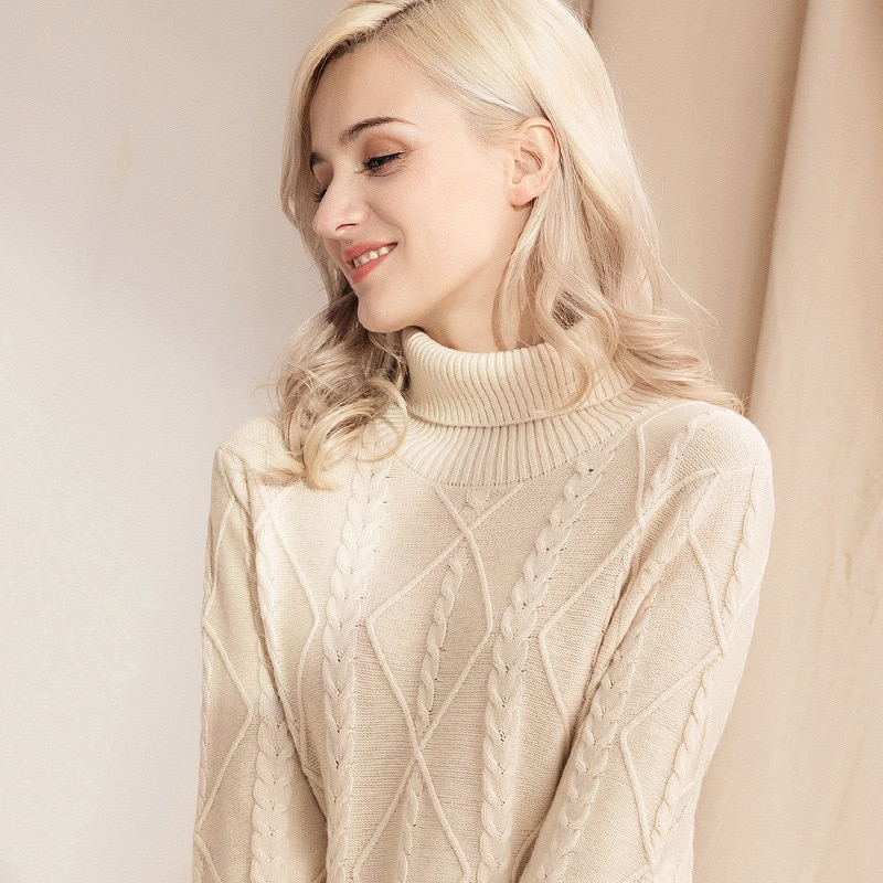 Turtleneck Sweater Autumn and Winter Lengthened Warm Wool Sweater Lapel Over The Knee Knitted Dress Winter Clothes Women enlarge