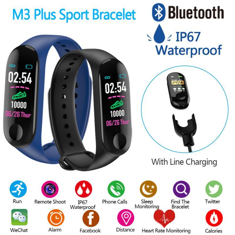 Reloj inteligente M3 Plus pulsera deportiva Seguimiento de la presión arterial Monitor de ritmo cardíaco pulsera inteligente M3plus con Cable de carga