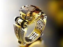 Gran oferta anillo dominador de circón electroplateado moda europea y americana creativo separación de color compromiso hombres y mujeres