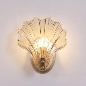 Shell Shape Copper+Glass Creative Sconce Light for Living Room Aisle Background Hotel Bedside