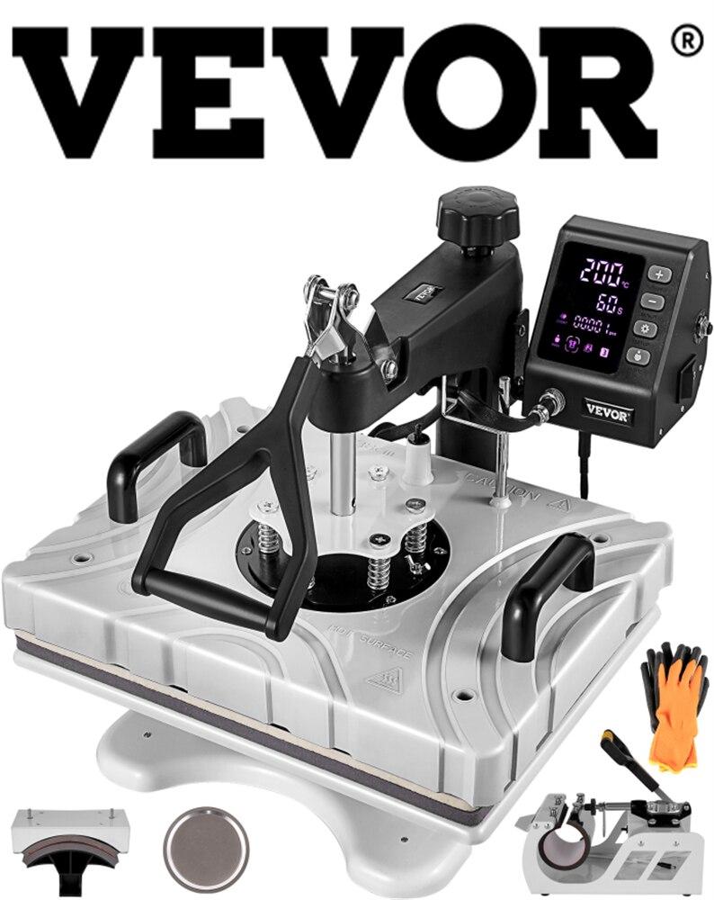 VEVOR 12X15 بوصة 5 في 1 6 في 1 الحرارة الصحافة 360 درجة دوران سوينغ LCD التحكم الرقمي نقل آلة تسامي لأقلام تي شيرت