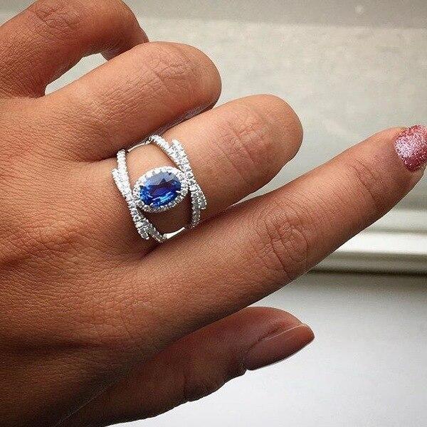 Great Cross Ring Bluestone Ring 925 Silver Wedding Dress Jewelry Bridesmaid Gift Ring