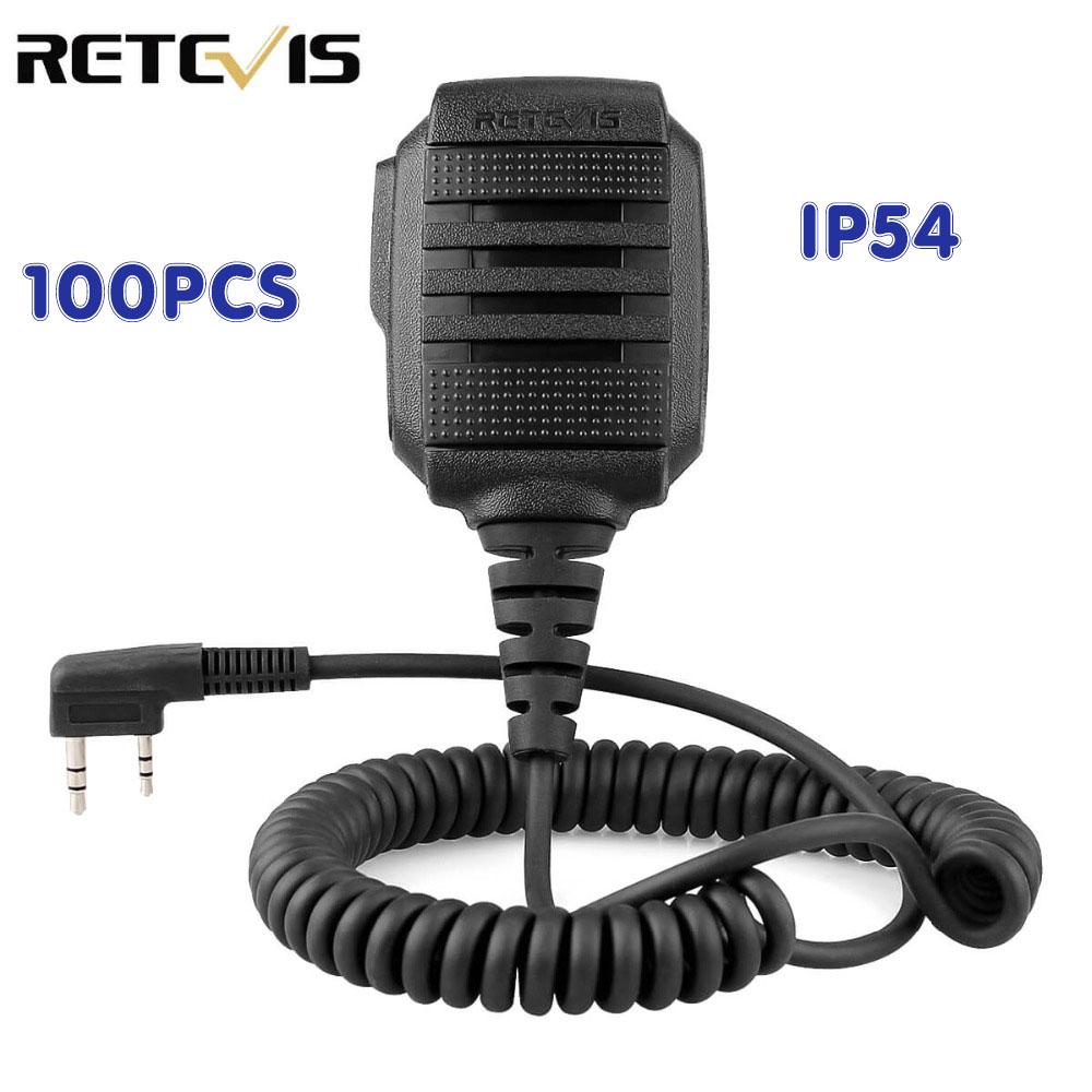 100 pcs Wholesale RS-114 IP54 Waterproof Speaker Microphone PTT For Kenwood RETEVIS H777 RT22 RT81 Baofeng UV-5R Walkie Talkie