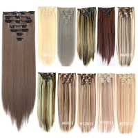 synthetic long straight clip in hair extensions 22 inch for women fake false hair pieces ombre black brown blonde 16 clips 7pc