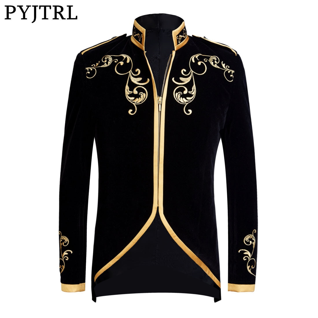 PYJTRL Velvet Embroidery Series Men British Style Palace Prince Velvet Gold Embroidery Blazer Wedding Groom Singers Suit Jacket