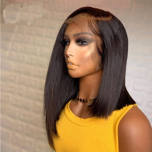 Jet Black Color Medium Length Silky Straight Glueless Lace Front Wig Synthetic For Black Women With Baby Hair Natural Hairline